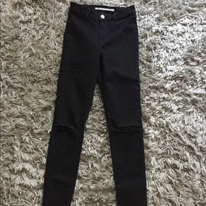 Zara high waisted black ripped jeans-size 6